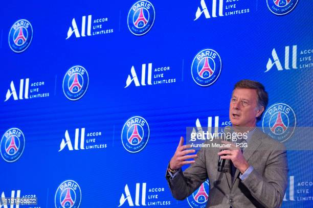 Accor CEO Sebastien Bazin and Paris SaintGermain President Nasser Al Khelaifi addresses the press as the Paris SaintGermain announce Accor as their...