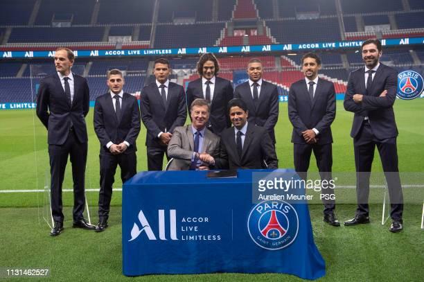 Accor CEO Sebastien Bazin and Paris SaintGermain President Nasser Al Khelaifi sign as the Paris SaintGermain announce Accor as their new shirt...