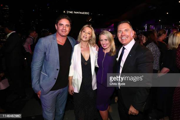 Accor COO Simon McGrath, Artist Vincent Fantauzzo, Asher Keddie and Tourism Minister Kate Jones MP attend the Fantauzzo launch on May 02, 2019 in...
