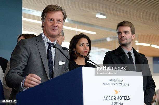 Accor Hotels CEO Sebastien Bazin addresses the media during the inauguration of the AccorHotels Arena on October 14 2015 in Paris France The...