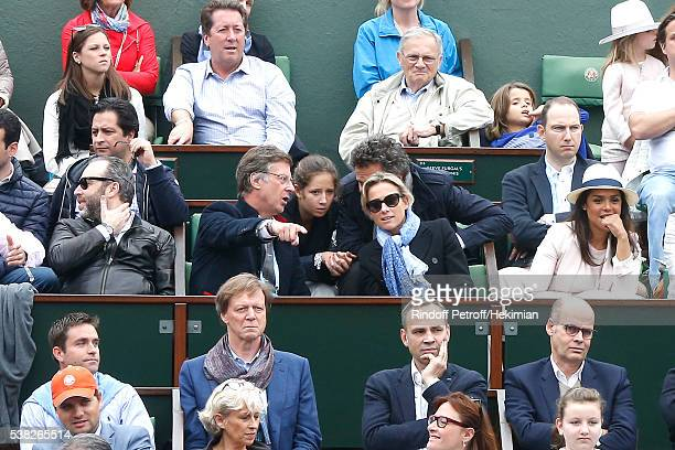 Accor Sebastien Bazin with journalist AnneSophie Lapix and her husband Arthur Sadoun attend Day Fifteen Men single's Final of the 2016 French Tennis...