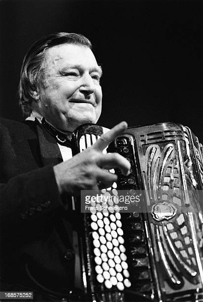 Accordian player Johnny Meijer performs live on stage at the BIM Huis in Amsterdam, Netherlands on 19th September 1987.
