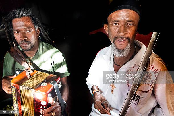 Accordion player Estevao Tavares aka Iduino and singer Bino Branco from the Cape Verdean band Ferro Gaita with an accordion and ferrinho respectively...