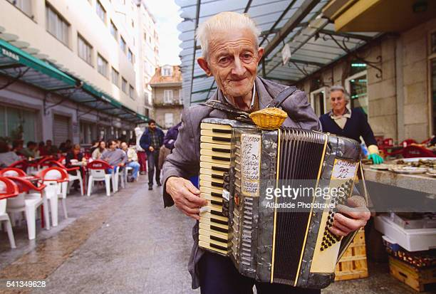 Accordion Player in a Vigo Oyster Market