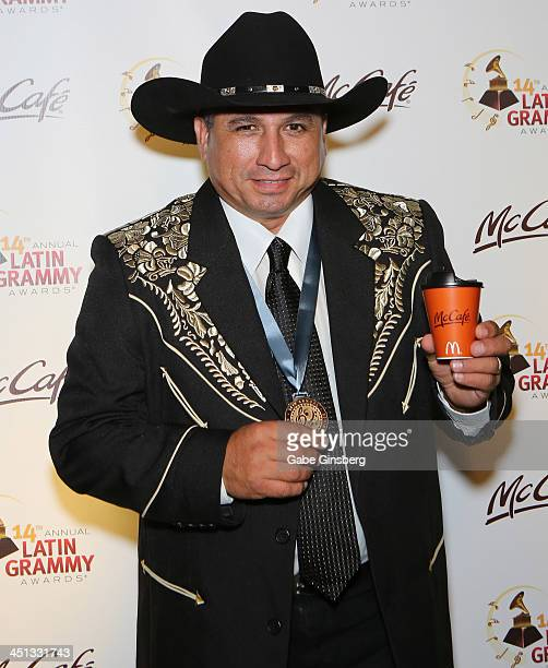 Accordionist David Farias of Los Hermanos Farias attends the Minuto McCafe Lounge at the Latin GRAMMY after party at the Mandalay Bay Convention...