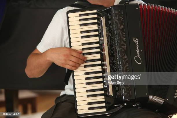 Accordionist Ilya Shneyveys gives a lesson during Yiddish Summer Weimar on July 27 2018 in Weimar Germany The annual fiveweek summer institute and...