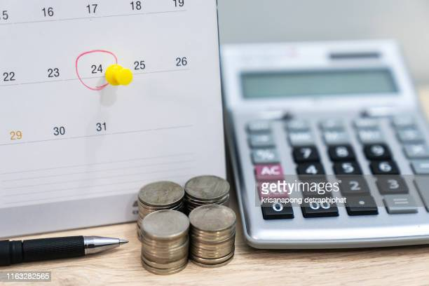 accountant verify and check due date for payment expense and vendor of financial business - monthly event stock pictures, royalty-free photos & images