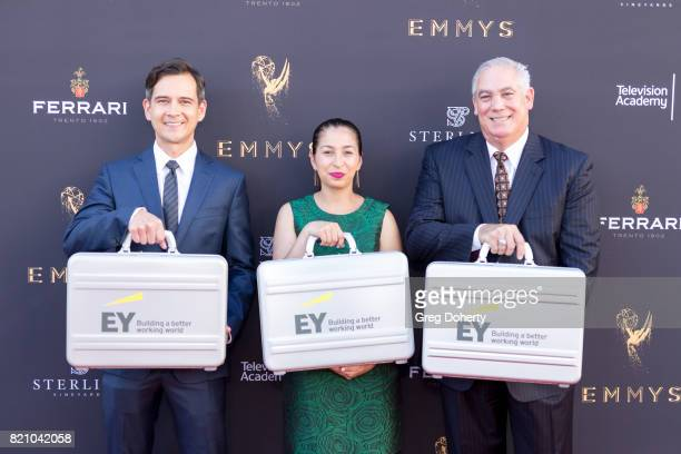 Accountants from Ernst and Young with the results arrive for the 69th Los Angeles Area Emmy Awards at Television Academy on July 22 2017 in Los...