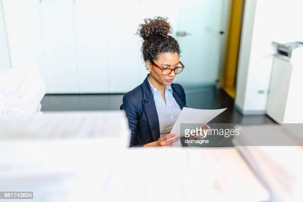 Accounting secretary at work