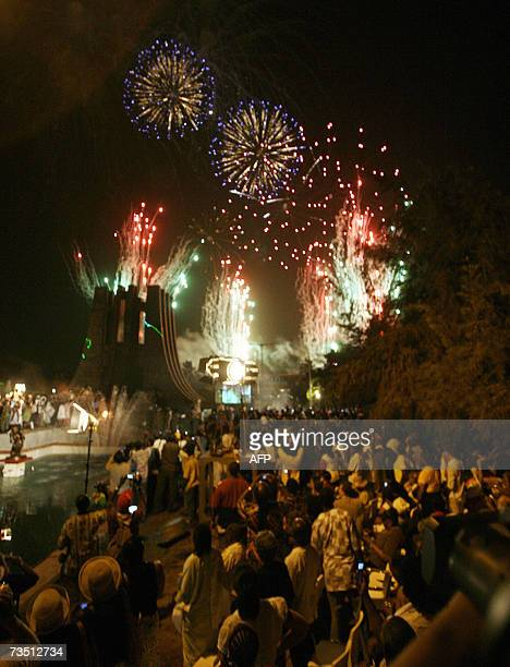 Fireworks are displayed at the Memorial Park named after the father of Ghanaian independence the late Kwame Nkrumahduring the 50th anniversary of the...