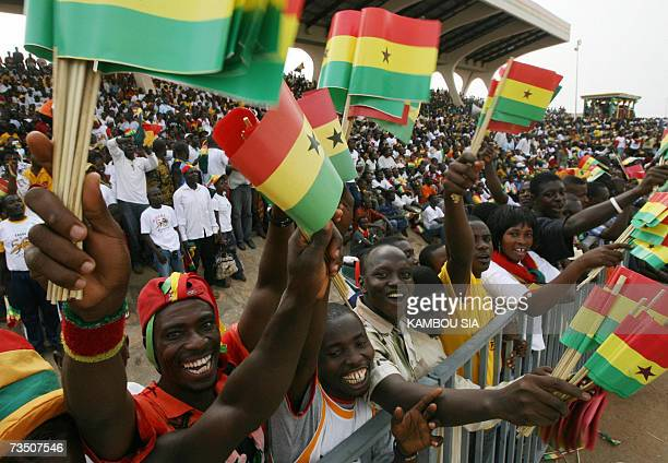 Ghanaians celebrate 06 March 2007 in Accra during ceremonies marking independence from Britain 50 years ago when the country became the first black...