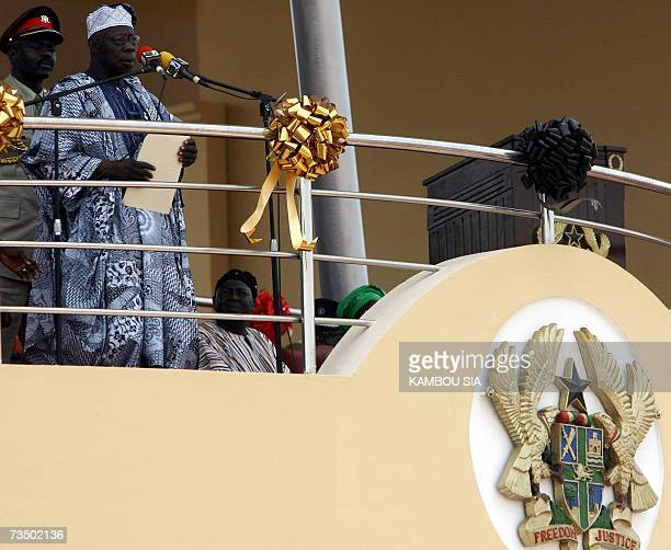 Nigeria's President Olusegun Obasanjo speaks 06 March 2007 in Accra during ceremonies marking independence from Britain 50 years ago when the country...