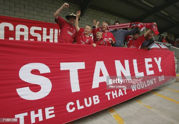 Accrington Stanley fans show their support during the CocaCola League Two match between Chester City and Accrington Stanley at the Saunders Honda...