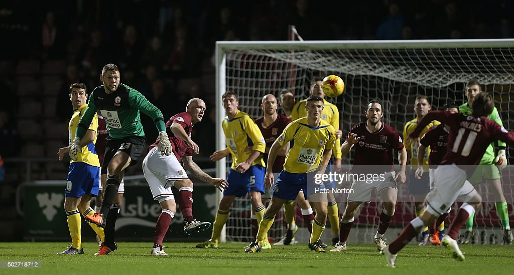 Accrington Stanley goalkeeper Jason Mooney joins his sides attack late in the game during the Sky Bet League Two match between Northampton Town and Accrington Stanley at Sixfields Stadium on December 28, 2015 in Northampton, England.