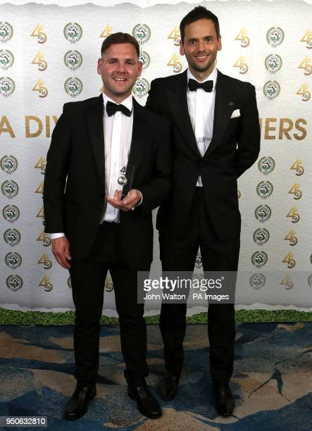 Accrington Stanley's Billy Kee and PFA chairman Ben Purkiss poses with the PFA League Two Team of the Year award during the 2018 PFA Awards at the...