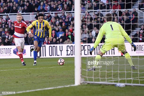 Accrington Stanley's English midfielder Sean Clare runs at goal but fails to score during the English FA cup fourth round football match between...