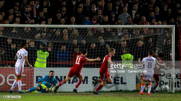 Accrington Stanley's Luke Armstrong celebrates scoring his side's equalising goal during the Sky Bet League One match between Accrington Stanley and...