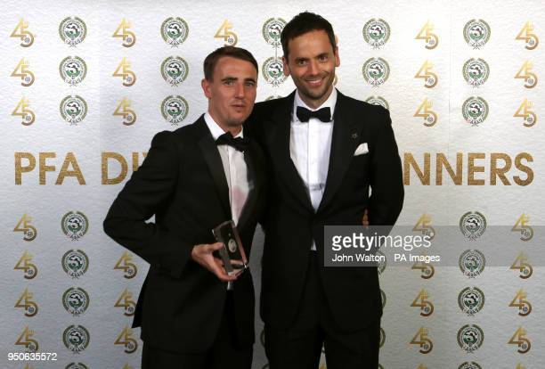 Accrington Stanley's Sean McConville and PFA chairman Ben Purkiss poses with the PFA League Two Team of the Year award during the 2018 PFA Awards at...