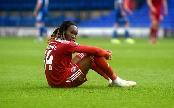 Accrington Stanley's Tariq Uwakwe taking a moment to collect his thoughts after the match during the Sky Bet League One match between Ipswich Town...