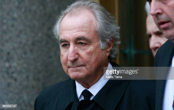 Accused $50 billion Ponzi scheme swindler Bernard Madoff exits federal court March 10, 2009 in New York City. Madoff was attending a hearing on his...