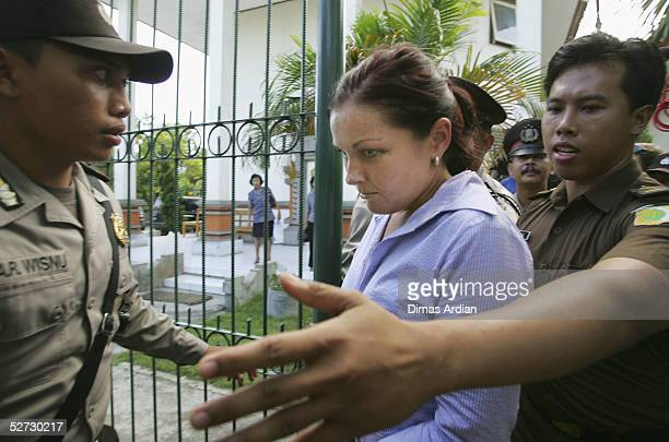 Accused Australian Drug Runner Schapelle Corby is escorted to the court room by Indonesian Police officers before her trial on April 28, 2005 at...