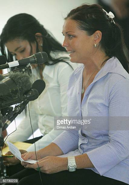 Accused Australian drug smuggler Schapelle Corby reads her personal letter as part of defense submissions during her trial on April 28, 2005 at...
