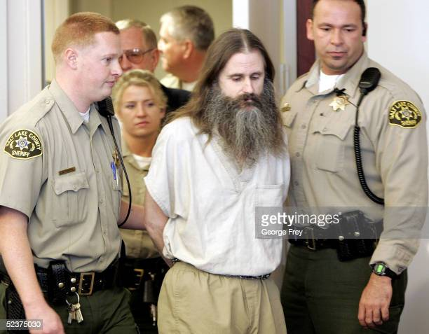 Accused kidnapper Brian David Mitchell is brought into court for his competency hearing March 11 2005 in Salt Lake City Utah Mitchell is charged with...