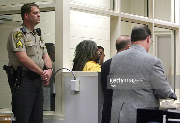 Accused killer Marcus Wesson attends a hearing in Superior Court March 18 2004 in in Fresno California Wesson's arraignment on charges he murdered...