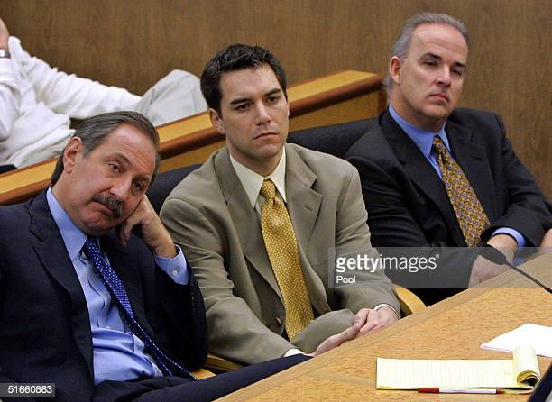 Accused murderer Scott Peterson and defense attorney Mark Geragos listen during prosecution rebuttal to the defense closing arguments in Peterson's...