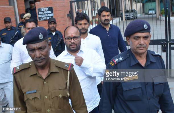 Accused of the Samjhauta Express blast case Kamal Chauhan Rajinder Chaudhary and Lokesh Sharma seen outside NIA Court in Panchkula India on Monday...
