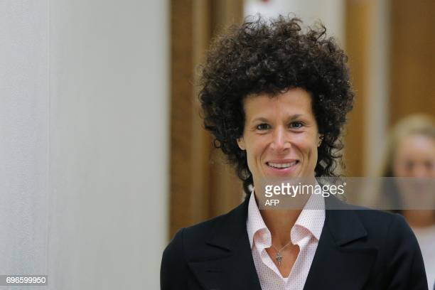 Accuser Andrea Constand departs the courtroom during the fifth day of deliberations in Bill Cosby's sexual assault trial at the Montgomery County...