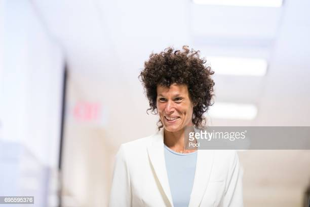 Accuser Andrea Constand walks to the courtroom during jury deliberations in entertainer Bill Cosby's trial on sexual assault charges at the...