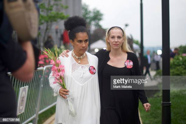 Accuser Lili Bernard walks with Caroline Heldman outside the Montgomery County Courthouse on the opening day of the sexual assault trial June 5 2017...