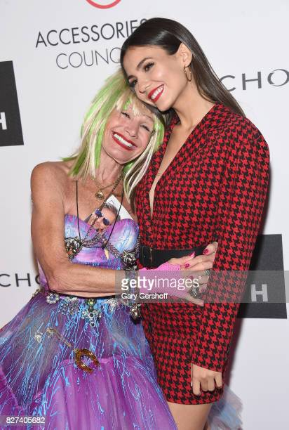 Ace Awards Style Icon honoree Betsey Johnson and actress Victoria Justice attend the 21st Annual Ace Awards hosted by the Accessories Council at...