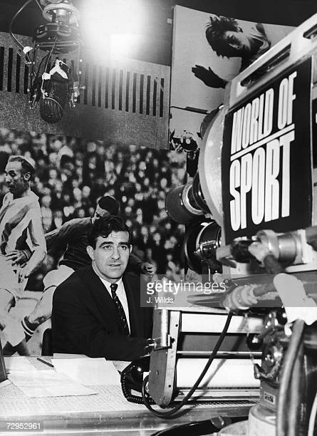 Ace bowler Fred Trueman faces the camera at Teddington studios during the filming of ITV's new sports programme, 'World of Sport', 2nd January 1965.