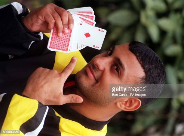 Ace boxer the WBO World Featherweight Champion Prince Naseem Hamed hoping to play his cards right during his next title defence at the Nynex Arena in...