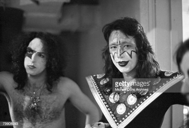Ace Frehley and Paul Stanley of the rock and roll band 'Kiss' pose for a portrait session backstage on May 31 1974 in Los Angeles California
