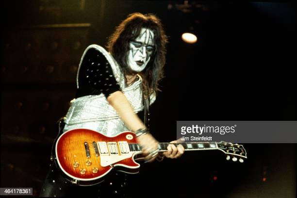 Ace Frehley guitarist for the rock band KISS performs at the Great Western Forum in Inglewood California on August 23 1996