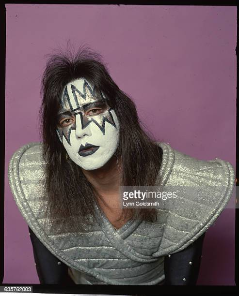 Ace Frehley guitarist for the rock group KISS is shown in stage makeup and costume Undated