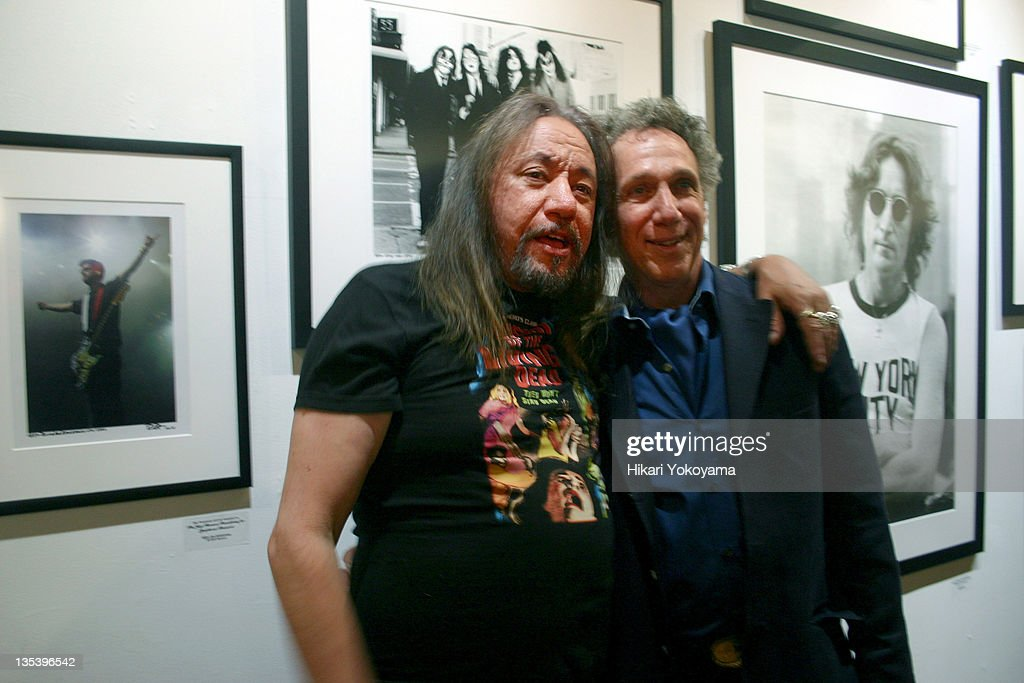 Ace Frehley of Kiss and Bob Gruen during Bob Gruen Print Sale Benefiting the Joey Ramone Foundation at Morrison Hotel Gallery Loft in New York, New York, United States.