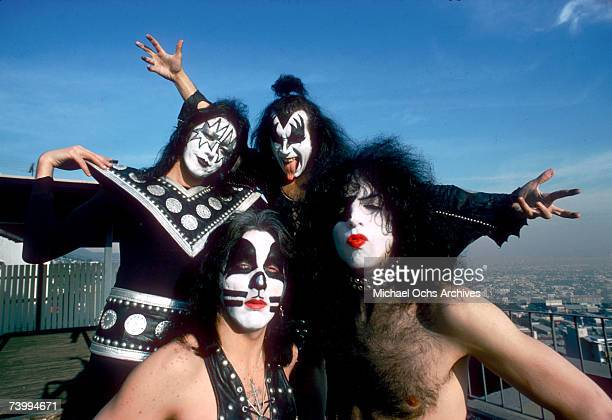 Ace Frehley Paul Stanley Peter Criss and Gene Simmons of the rock and roll band Kiss pose for a portrait session in January 1975 in Los Angeles...