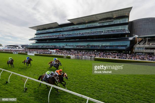 Ace High edges home to win Race 7 the Moet and Chandon Spring Champion Stakes at Randwick on October 7 2017 in Sydney Australia