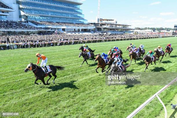 Ace High ridden by Tye Angland wins the AAMI Victoria Derby at Flemington Racecourse on November 04 2017 in Flemington Australia