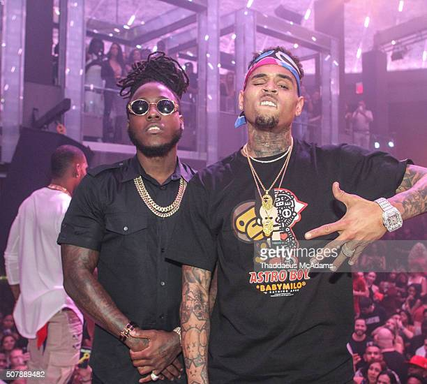 Ace Hood and Chris Brown at LIV on Sunday at LIV nightclub at Fontainebleau Miami on January 31 2016 in Miami Beach Florida