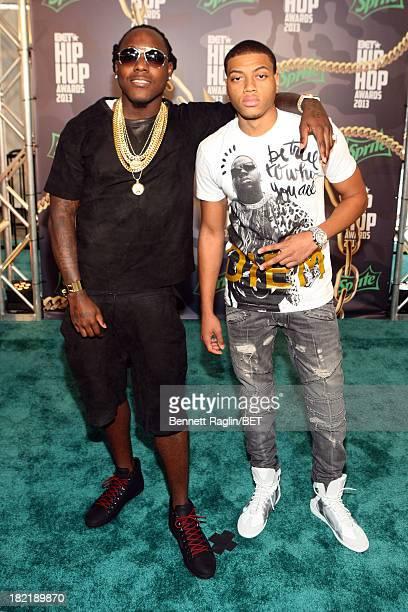 Ace Hood and guest attend the BET Hip Hop Awards 2013 at Boisfeuillet Jones Atlanta Civic Center on September 28 2013 in Atlanta Georgia