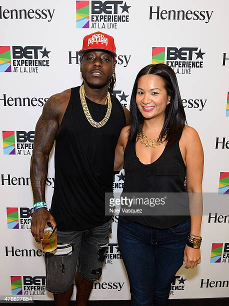 Ace Hood and Hennessy's West Coast Marketing Manager ThuyAnh J Nguyen attend the official BET Experience gifting suite sponsored by Hennessy at Los...