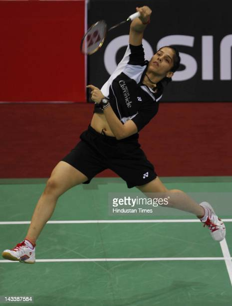 Ace Indian shuttler Saina Nehwal in action against Hong Kong's Pui Yin Yip during the India Open 2012 at Sirifort Complex on April 25 2012 in New...