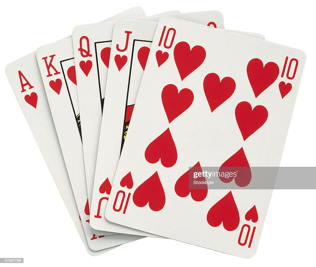 ace king queen jack and ten of hearts : Stock Photo