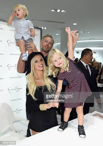 Ace Knute Johnson, Eric Johnson,Jessica Simpson wearing Jessica Simpson Collection and Maxwell Drew Johnson wearing Jessica Simpson Girls attend...