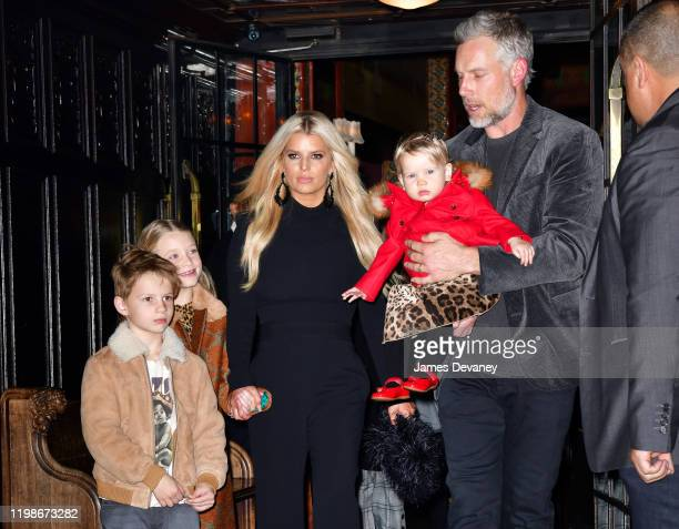 Ace Knute Johnson Maxwell Drew Johnson Jessica Simpson Birdie Mae Johnson and Eric Johnson seen on the streets of Manhattan on February 4 2020 in New...